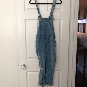 Distressed self tie overalls